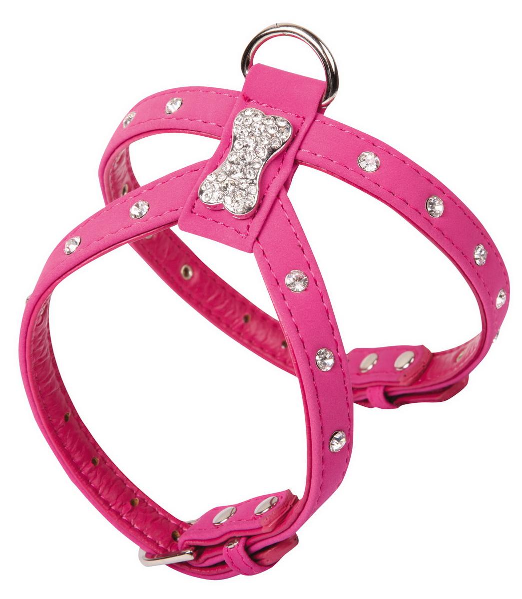 Шлейка для собак Dezzie, цвет: розовый, обхват шеи 22-28 см, обхват груди 34-40 см. Размер L. 56240800120710Шлейка Dezzie, изготовленная из бархата и украшенная металлической вставкой в виде косточки и стразами подходит для собак крупных пород. Крепкие металлические элементы делают ее надежной и долговечной. Шлейка - это альтернатива ошейнику. Правильно подобранная шлейка не стесняет движения питомца, не натирает кожу, поэтому животное чувствует себя в ней уверенно и комфортно. Имеется металлическое кольцо для крепления поводка.Изделие отличается высоким качеством, удобством и универсальностью. Имеется металлическое кольцо для крепления поводка.Размер регулируется при помощи пряжек.Обхват шеи: 22-28 см. Обхват груди: 34-40 см.