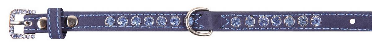 Ошейник для собак Dezzie, цвет: синий, обхват шеи 25-30 см, ширина 1,5 см. Размер М. 56241060120710Ошейник для собак Dezzie изготовлен из бархата и декорирован стразами. Он устойчив к влажности и перепадам температур. Клеевой слой, сверхпрочные нити и крепкие металлические элементы делают ошейник надежным и долговечным.Размер ошейника регулируется при помощи пряжки. Имеется металлическое кольцо для крепления поводка. Изделие отличается высоким качеством, удобством и универсальностью, а также имеет эффектный внешний вид. Минимальный обхват шеи: 25 см. Максимальный обхват шеи: 30 см. Ширина ошейника: 1,5 см.