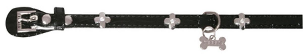 Ошейник для собак Dezzie, цвет: черный, обхват шеи 25 см, ширина 1 см. Размер XS. 562434512171996Ошейник для собак Dezzie изготовлен из искусственной кожи и декорирован металлической вставкой в виде бантика и стразами. Он устойчив к влажности и перепадам температур. Клеевой слой, сверхпрочные нити и крепкие металлические элементы делают ошейник надежным и долговечным.Имеется металлическое кольцо для крепления поводка. Изделие отличается высоким качеством, удобством и универсальностью, а также имеет эффектный внешний вид. Обхват шеи: 25 см. Ширина ошейника: 1 см.