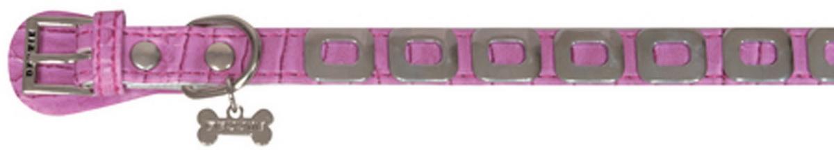 Ошейник для собак Dezzie, цвет: розовый, обхват шеи 25 см, ширина 1 см. Размер XS. 562434712171996Ошейник для собак Dezzie изготовлен из искусственной кожи и декорирован металлическими элементами и подвеской в виде косточки со стразами. Он устойчив к влажности и перепадам температур. Клеевой слой, сверхпрочные нити и крепкие металлические элементы делают ошейник надежным и долговечным.Имеется металлическое кольцо для крепления поводка. Изделие отличается высоким качеством, удобством и универсальностью, а также имеет эффектный внешний вид. Обхват шеи: 25 см. Ширина ошейника: 1 см.