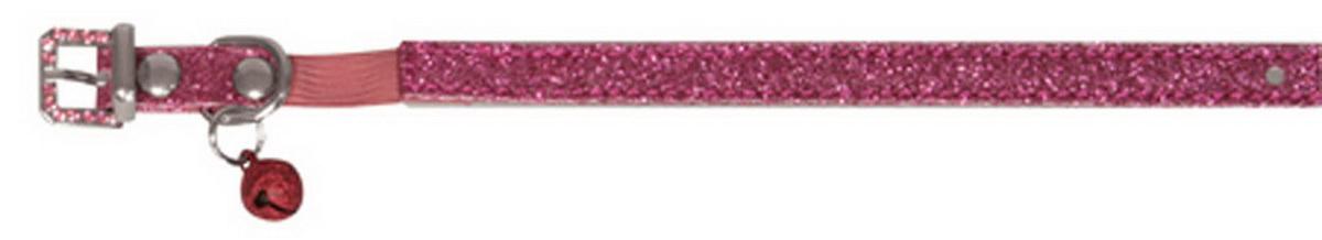 Ошейник для кошек Dezzie, с бубенчиком, цвет: темно-розовый, обхват шеи 26 см, ширина 1 см. Размер XS. 56244020120710Ошейник для кошек Dezzie, изготовленный из полиэстера, декорирован стразами и дополнен бубенчиком.Ошейник застегивается на металлическую пряжку. Резиновая вставка позволяет ошейнику надежно зафиксироваться на шее питомца, не нанося дискомфорт шерсти и позволяя свободно дышать, и при необходимости легко снять аксессуар. Бубенчик позволит контролировать местонахождение кошки, а также будет оберегать уличных птиц от нежелательного контакта.Имеется металлическое кольцо для крепления поводка. Обхват шеи: 26 см. Ширина ошейника: 1 см.