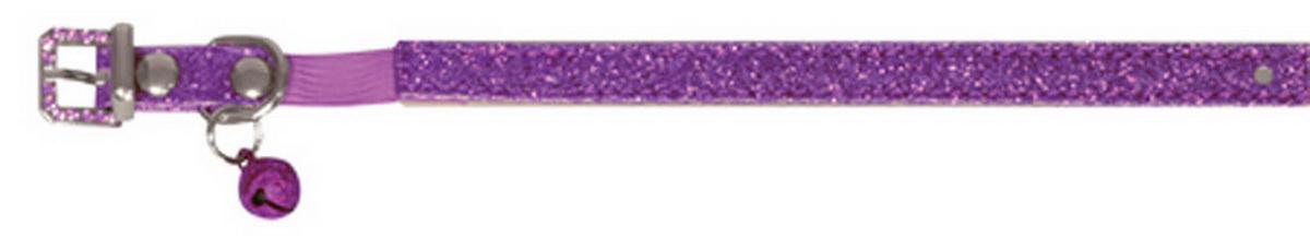 Ошейник для кошек Dezzie, с бубенчиком, цвет: фиолетовый, обхват шеи 26 см, ширина 1 см. Размер XS. 5624404WR520KОшейник для кошек Dezzie, изготовленный из полиэстера, декорирован стразами и дополнен бубенчиком.Ошейник застегивается на металлическую пряжку. Резиновая вставка позволяет ошейнику надежно зафиксироваться на шее питомца, не нанося дискомфорт шерсти и позволяя свободно дышать, и при необходимости легко снять аксессуар. Бубенчик позволит контролировать местонахождение кошки, а также будет оберегать уличных птиц от нежелательного контакта.Имеется металлическое кольцо для крепления поводка. Обхват шеи: 26 см. Ширина ошейника: 1 см.