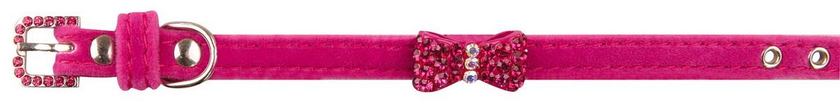 Ошейник для собак Dezzie, цвет: розовый, обхват шеи 18-23 см, ширина 1 см. 56244140120710Ошейник для собак Dezzie изготовлен из искусственной кожи и декорирован металлической вставкой в виде бантика и стразами. Он устойчив к влажности и перепадам температур. Клеевой слой, сверхпрочные нити и крепкие металлические элементы делают ошейник надежным и долговечным.Размер ошейника регулируется при помощи пряжки. Имеется металлическое кольцо для крепления поводка. Изделие отличается высоким качеством, удобством и универсальностью, а также имеет эффектный внешний вид. Минимальный обхват шеи: 18 см. Максимальный обхват шеи: 23 см. Ширина ошейника: 1 см.