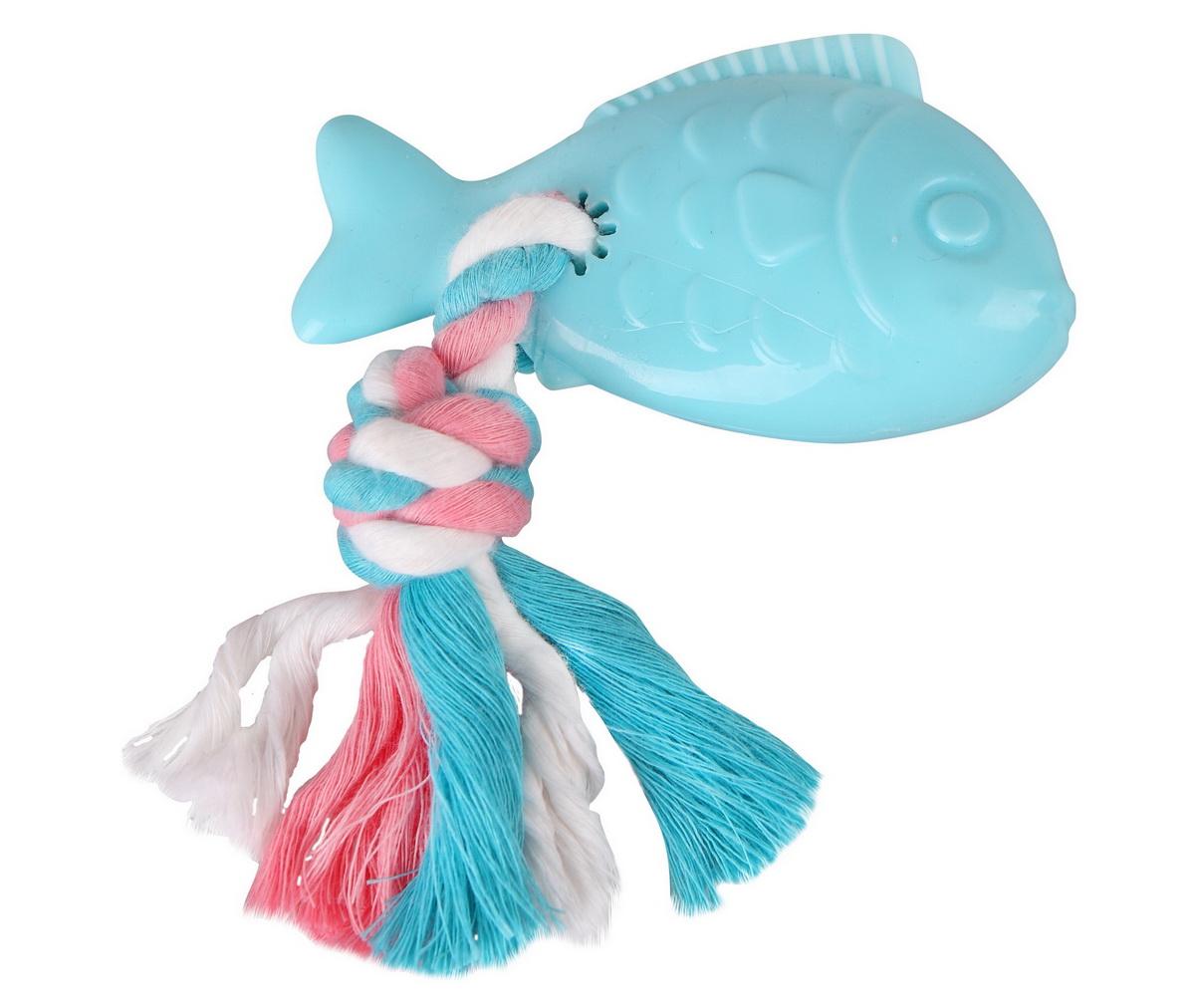 Игрушка для собак Dezzie Рыба с веревкой, 10 х 10 см0120710Игрушка для собак Dezzie Рыба с веревкой выполнена из резины в виде рыбы с текстильной веревкой. Резиновые игрушки для щенков и собак мелких пород - это отличный подарок активному питомцу, чьи хозяева заботятся о его здоровье и правильном развитии. Игрушки из мягкой резины из безопасного и прочного материала созданы специально с учетом анатомических особенностей мелких собак, поэтому их легко и приятно будет грызть маленькой пасти животного. Эластичность мягкой резины и специальные выступы на поверхности игрушек не травмируют челюсть животного и способствуют тренировке жевательных мышц, очищению зубов и массажу десен собаки. Увлекательная структура игрушек позволит вашему питомцу надолго занять свой досуг.Размер игрушки: 10 х 10 см.