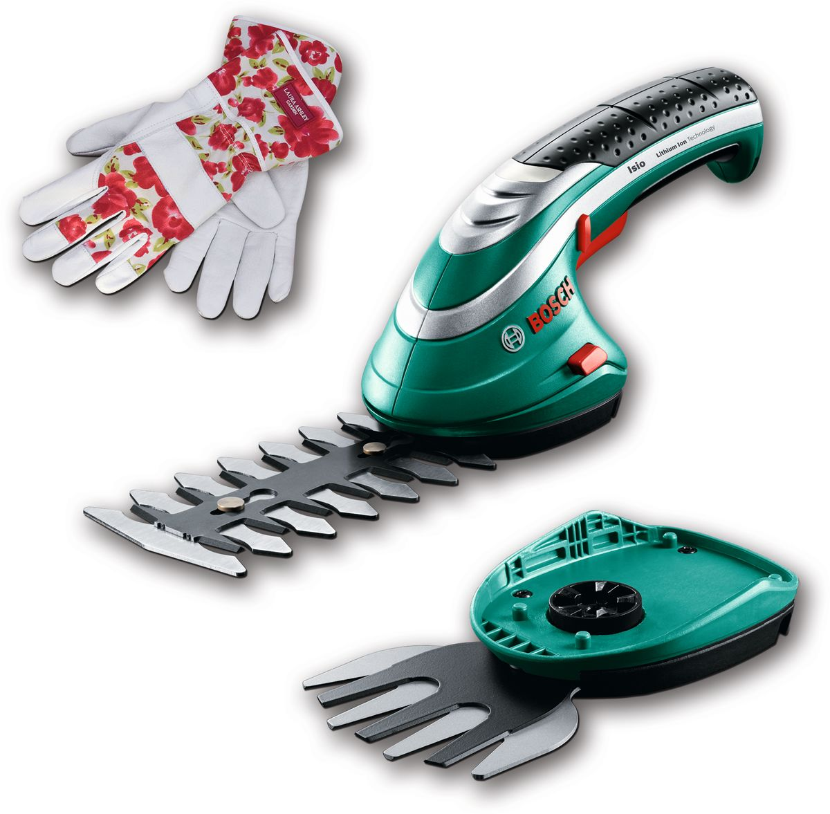 Аккумуляторные ножницы Bosch ISIO 3 для травы и кустов + перчатки Laura Ashley. 060083310MF0150739RAАккумуляторный легкий инструмент Isio в сочетании с универсальной системой Multi-Click необходим каждому садоводу, которому нужно выполнять работы по обрезке в саду. Литий-ионный аккумулятор 3,6 В (1,5 А/ч) обеспечивает работу до 50 минут, а малый вес позволяет выполнять обрезку и стрижку без усилий.Ножницы для травы оснащены швейцарскими ножами шириной 80 мм, а кусторез – ножами длиной 120 мм.Технические данные:Время зарядки аккумулятора 3,5 чИндикатор заряда. Удобный 4-ступенчатый светодиодный индикатор зарядаПростая замена насадок благодаря системе SDSКомплект поставки:зарядное устройствоНож для травы Multi-Click 8 см (F 016 800 326)Нож для кустореза Multi-Click 12 см (F 016 800 327)Прочные стильные перчатки от дизайнера Laura Ashley