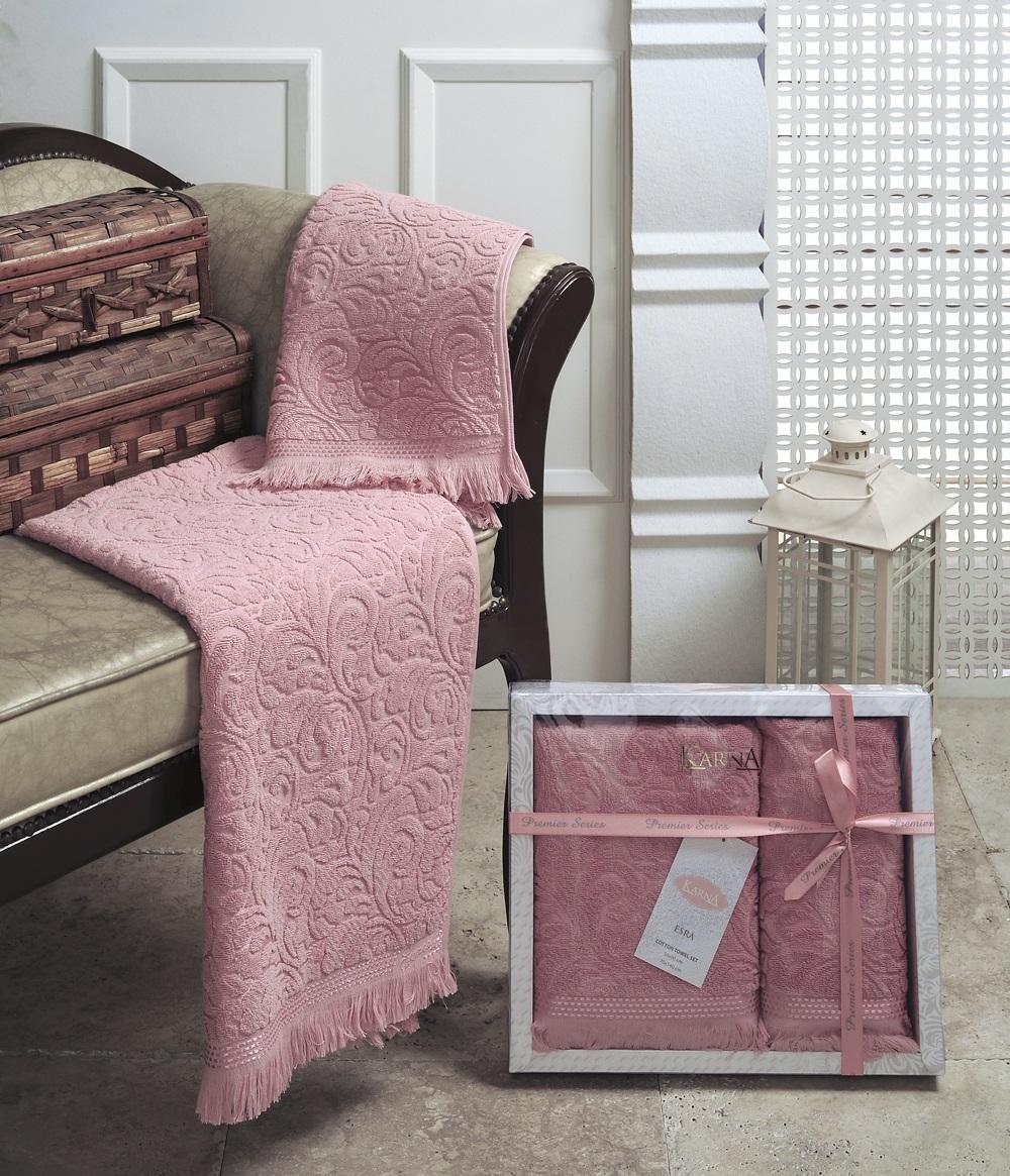 Набор полотенец Karna Esra, цвет: розовый, 2 шт1687/CHAR005