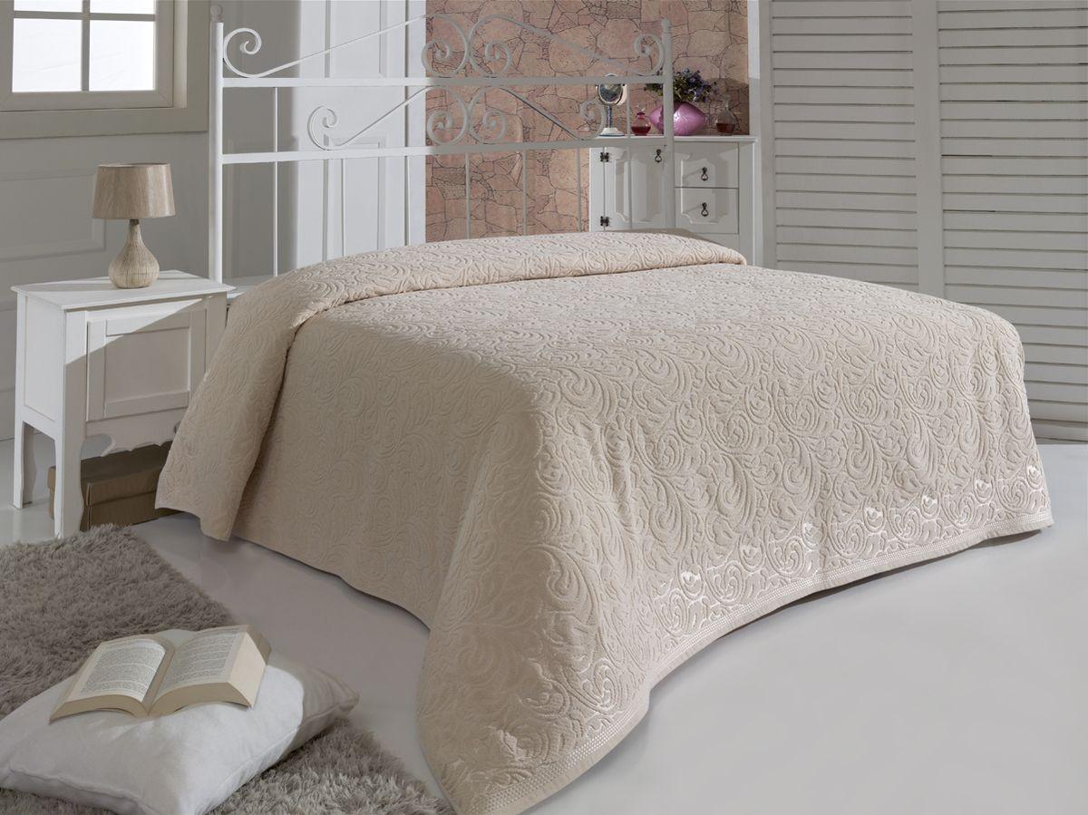 Простыня махровая Karna Esra, цвет: бежевый, 200 x 220 см4630003364517Махровая простыня Karna Esra изготовлена из 100% хлопка.Простыня приятная и нежная на ощупь, ее можно использовать как простыню, так и в качестве покрывала. Оригинальный дизайн придает изделию уникальность и оригинальность.Размер простыни: 200 x 220 см.