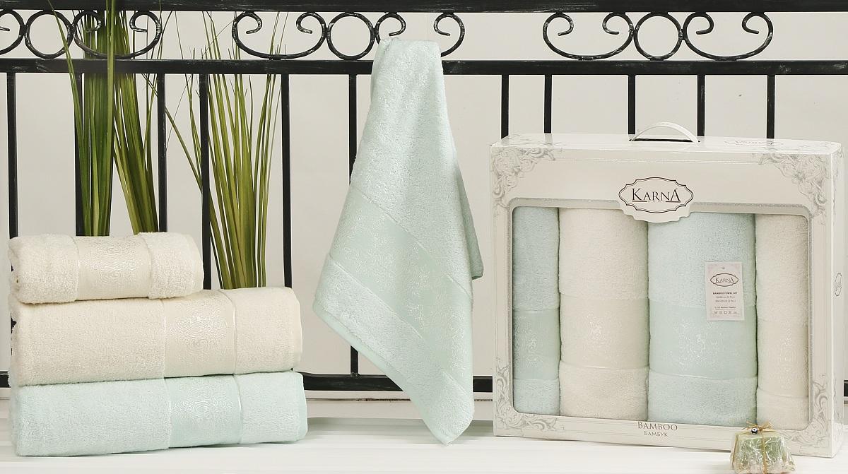 Набор полотенец Karna Pandora, цвет: кремовый, светло-зеленый, 4 шт2198/CHAR002Кухонные полотенца Karna изготовлены из экологически чистого материала - бамбуковой махры. Бамбуковая махра делается из бамбуковых волокон. Бамбуковые волокна имеют дышащую структуру и обладают отличными свойствами впитывать влагу приблизительно на 60% больше, чем хлопок.Полотенца не образуют статического электричества и легко стираются.Отличительной особенностью данной модели является её оригинальный жаккардовый рисунок.В наборе 2 полотенца размером 50 x 90 см и 2 полотенца размером 90 x 150 см.