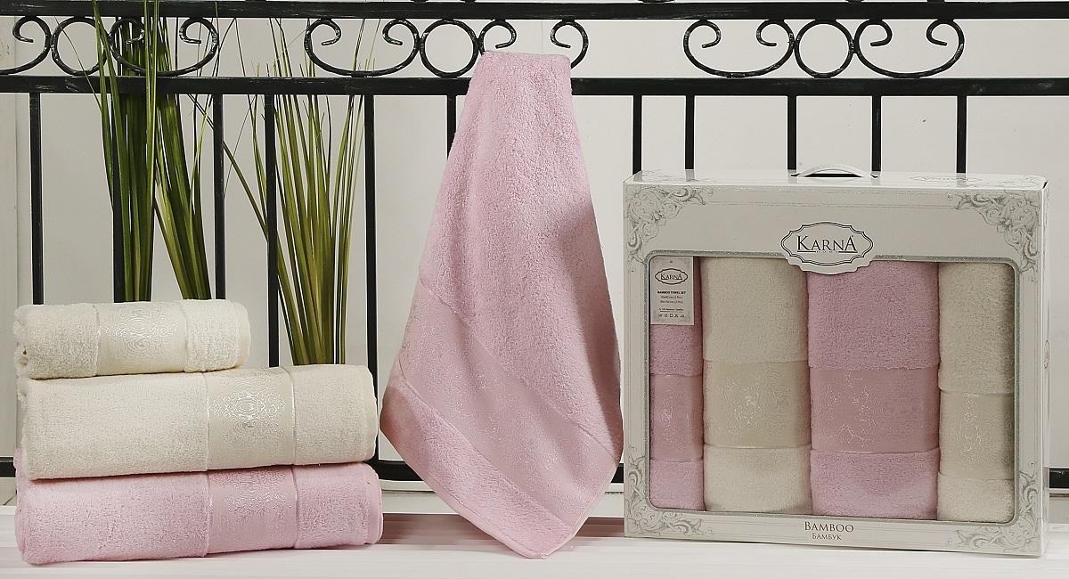 Набор полотенец Karna Pandora, цвет: кремовый, светло-розовый, 4 шт2198/CHAR004