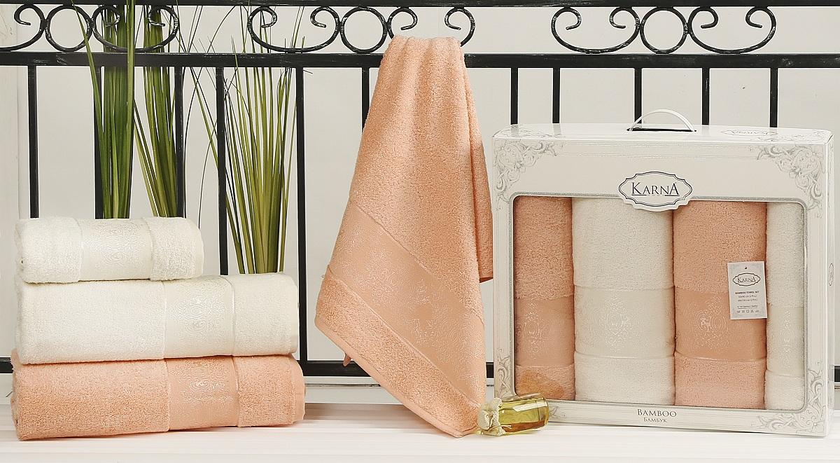 Набор полотенец Karna Pandora, цвет: кремовый, абрикосовый, 4 шт2198/CHAR005