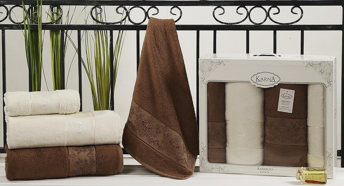 Набор полотенец Karna Pandora, цвет: кремовый, коричневый, 4 шт2198/CHAR009