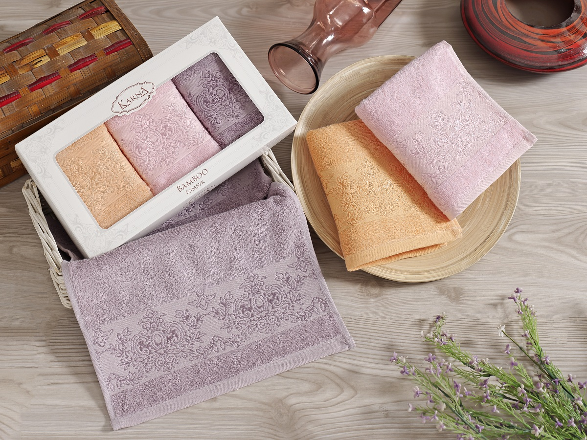 Набор кухонных полотенец Karna Pandora, цвет: розовый, персиковый, сиреневый, 30 х 50 см, 3 шт. 2199/CHAR001SC-FD421005Кухонные полотенца Karna Pandora очень нежные и приятные для кожи, они отлично впитывают влагу и быстро высыхают. На ощупь бамбуковые полотенца мягче и нежнее хлопковых, но не такие пышные как хлопковые махровые.Полотенца Karna Pandora идеально подходят людям с чувствительной кожей, ведь бамбук никогда не вызывает аллергии.В наборе 3 полотенца.Размер: 30 х 50 см.