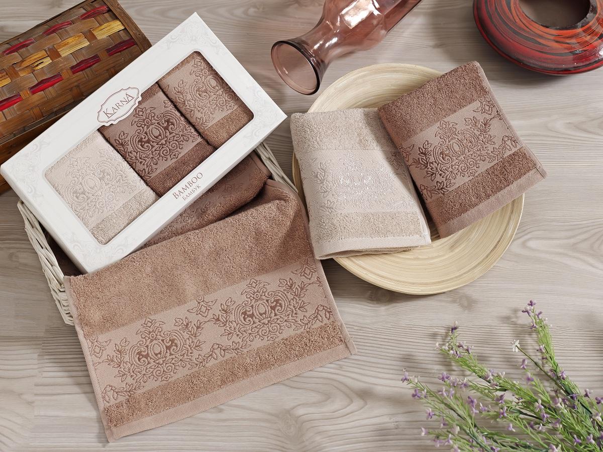 Набор кухонных полотенец Karna Pandora, 30 х 50 см, 3 шт. 2199/CHAR0061со6634-2Кухонные полотенца Karna изготовлены из экологически чистого материала - бамбуковой махры. Бамбуковая махра делается из бамбуковых волокон. Бамбуковые волокна имеют дышащую структуру и обладают отличными свойствами впитывать влагу приблизительно на 60% больше, чем хлопок.Полотенца не образуют статического электричества и легко стираются.Отличительной особенностью данной модели является её оригинальный жаккардовый рисунок.В наборе 3 полотенца размером 30 x 50 см.