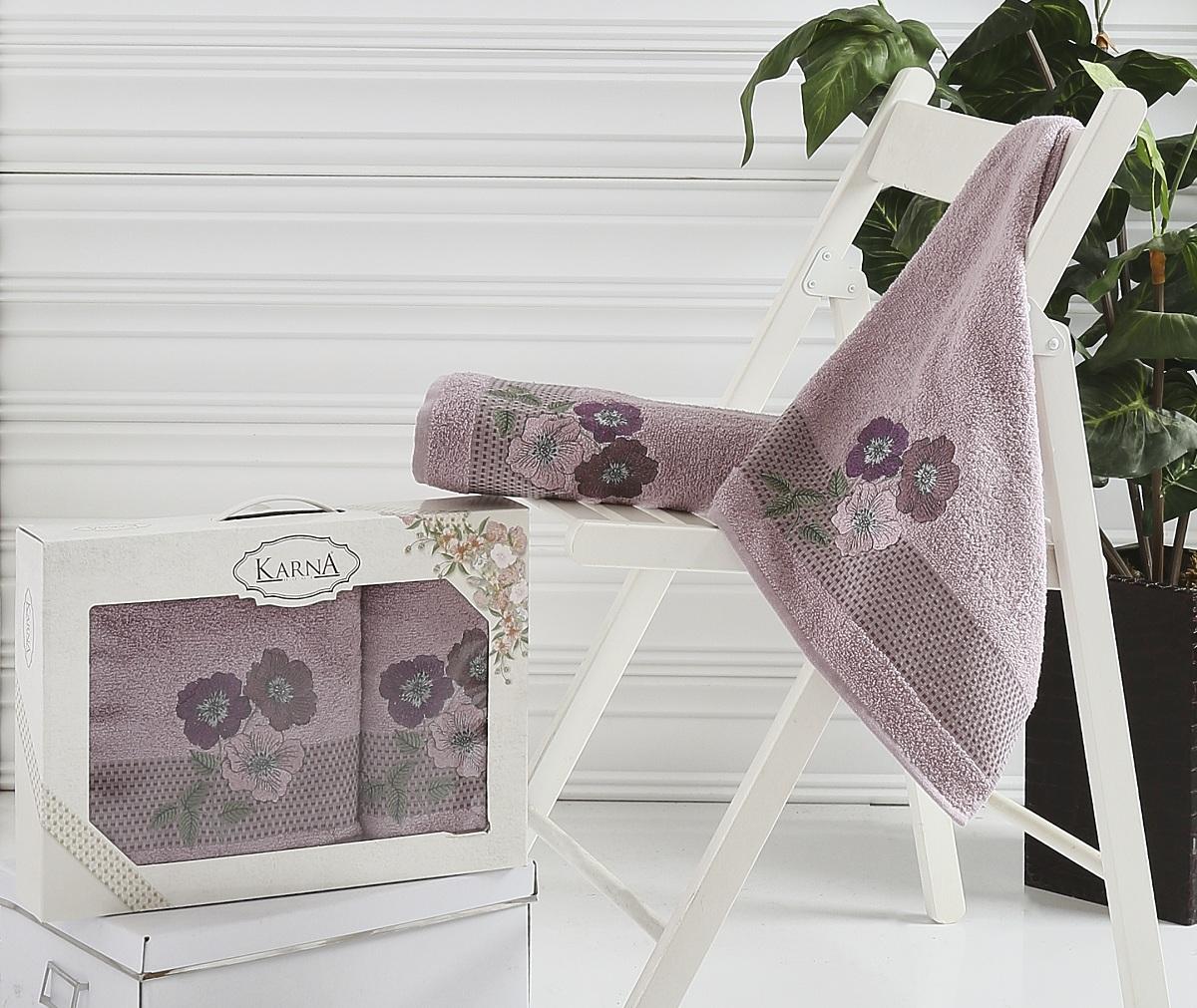 Набор полотенец Karna Sandy, цвет: светло-лавандовый, 2 шт2390/CHAR004