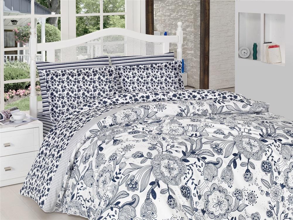 Комплект белья Altinbasak Dina, 2-спальный, наволочки 50х70, цвет: синий256/7/CHAR001