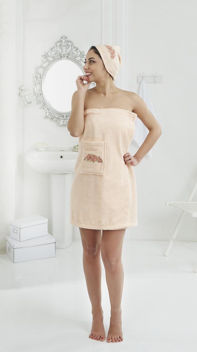 Набор для сауны женский Karna Pera, цвет: абрикосовый, 2 предмета531-301Махровый набор для сауны Pera изготавливают из высококачественного 100% хлопка. Хлопковые нити прядутся из длинных волокон. Длина волокон хлопковой нити влияет на свойства ткани, чем длиннее волокна, тем махровое изделие прочнее, пушистее и мягче на ощупь. А также махровое изделие будет отлично впитывать воду и быстро сохнуть. На впитывающие качества махры (ее гигроскопичность) конечно же влияет состав волокон. Набор абсолютно не аллергенен, имеет высокую воздухопроницаемость и долгий срок использования.Состоит из полотенца-парео и полотенца -чалмы.