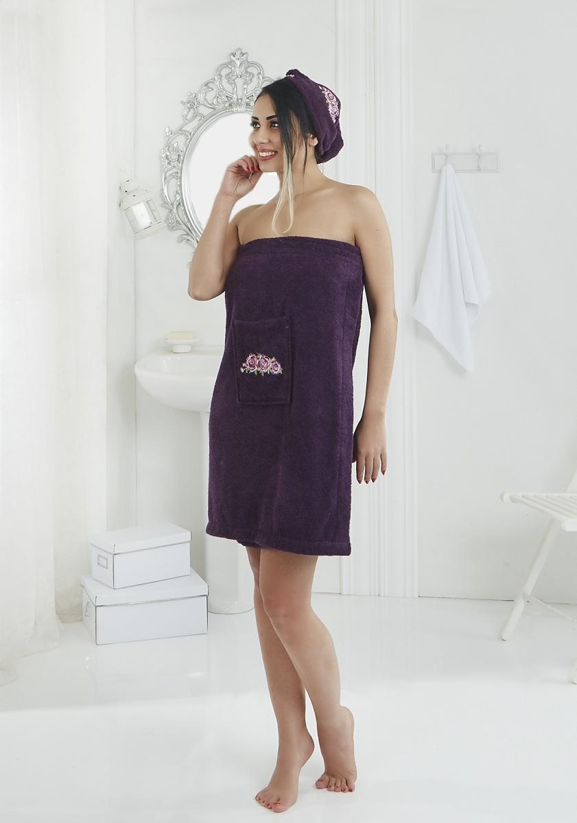 Набор для сауны женский Karna Pera, цвет: светло-лавандовый, 2 предмета1004900000360Махровый набор для сауны Pera изготавливают из высококачественного 100% хлопка. Хлопковые нити прядутся из длинных волокон. Длина волокон хлопковой нити влияет на свойства ткани, чем длиннее волокна, тем махровое изделие прочнее, пушистее и мягче на ощупь. А также махровое изделие будет отлично впитывать воду и быстро сохнуть. На впитывающие качества махры (ее гигроскопичность) конечно же влияет состав волокон. Набор абсолютно не аллергенен, имеет высокую воздухопроницаемость и долгий срок использования.Состоит из полотенца-парео и полотенца -чалмы.