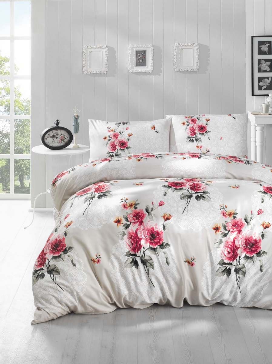 Комплект белья Altinbasak Edita, 2-спальный, наволочки 50х70, цвет: красный297/13/CHAR001