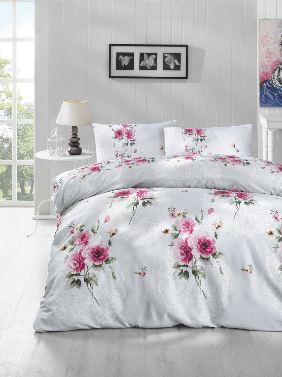 Комплект белья Altinbasak Ela, 2-спальный, наволочки 50х70, цвет: ментол297/14/CHAR002