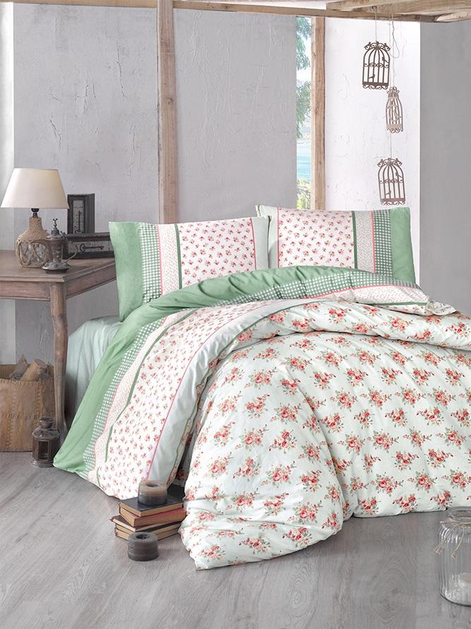 Комплект белья Altinbasak Ahsen, 2-спальный, наволочки 50х70, цвет: зеленый297/1/CHAR002
