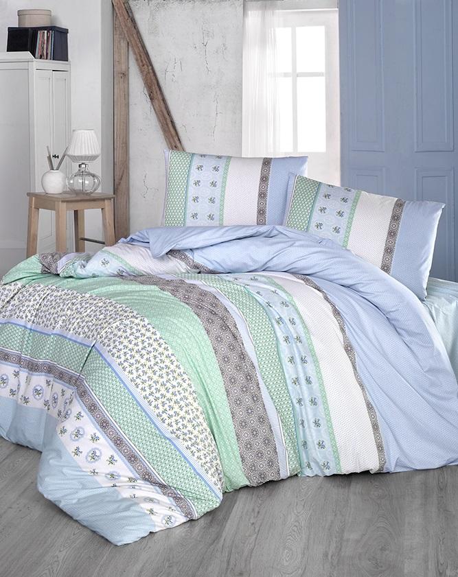 Комплект белья Altinbasak Justo, 2-спальный, наволочки 50х70, цвет: голубой297/21/CHAR001