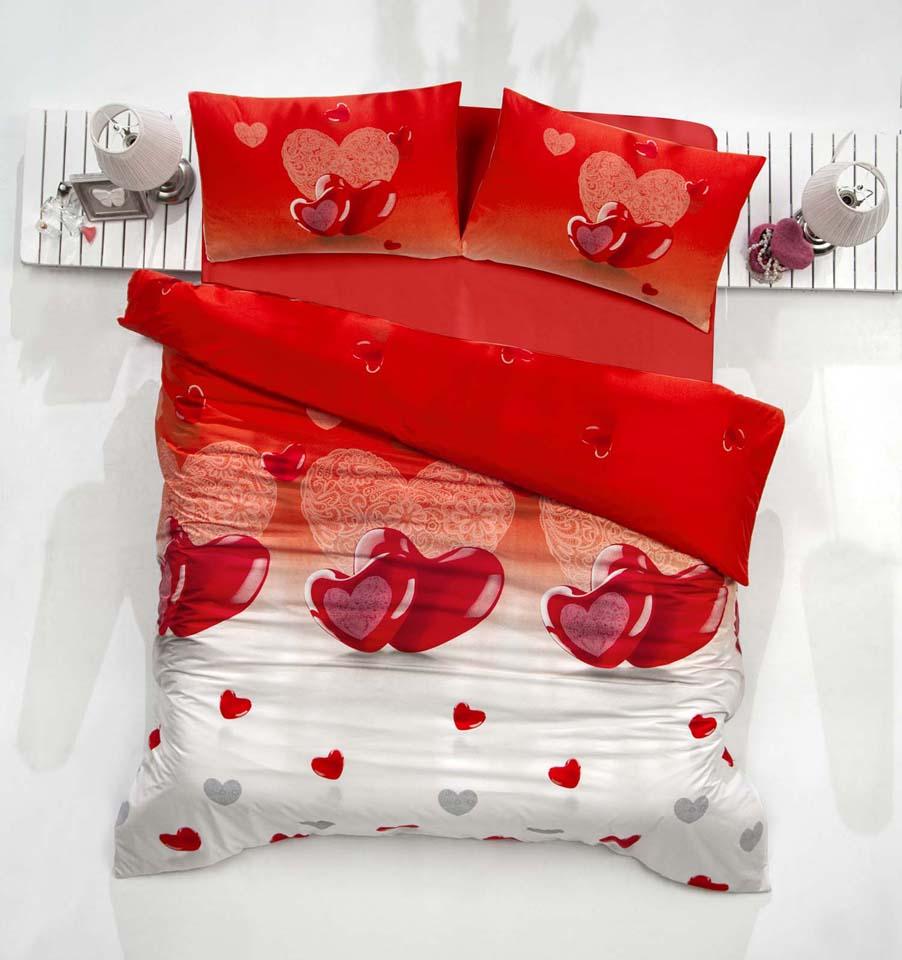 Комплект белья Altinbasak Loveliy, 2-спальный, наволочки 50х70, цвет: красный297/25/CHAR001
