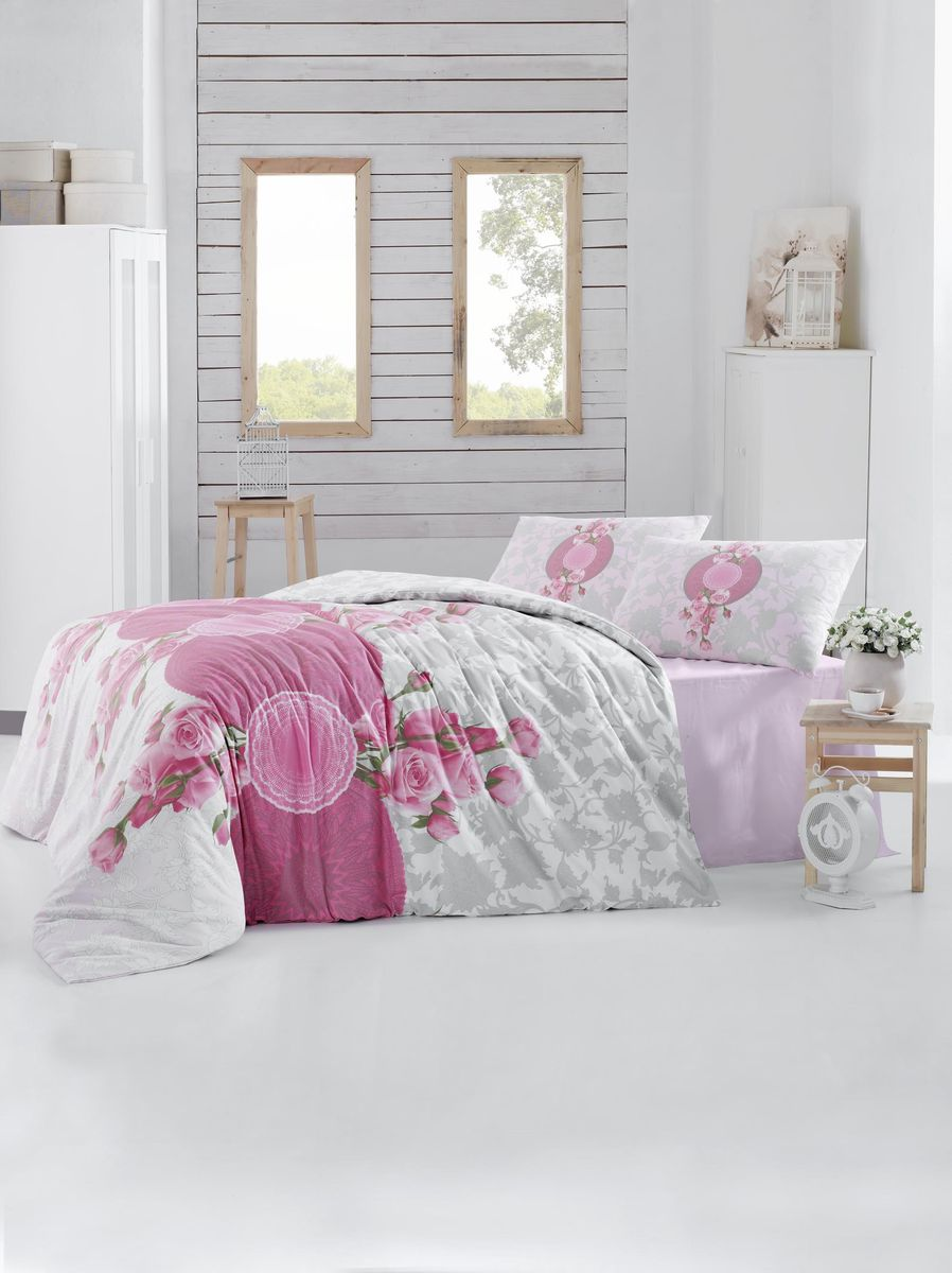 Комплект белья Altinbasak Rosen, 2-спальный, наволочки 50х70, цвет: розовый297/33/CHAR002