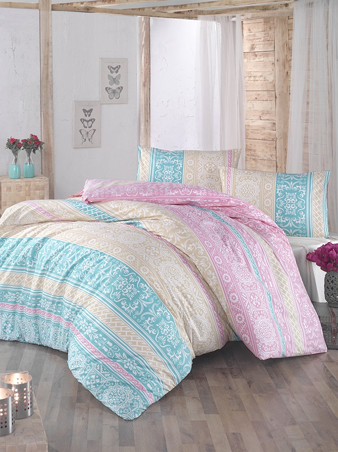 Комплект белья Altinbasak Monica, 2-спальный, наволочки 50х70, цвет: ментол297/42/CHAR002