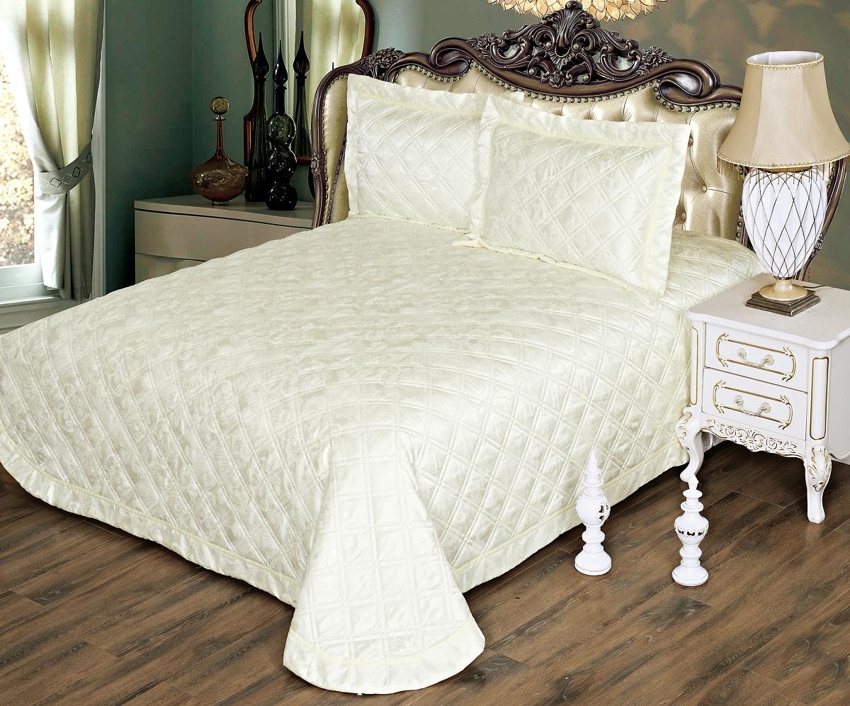 Комплект для спальни Karna Moneta: покрывало 230 х 250 см, 2 наволочки 50 х 70 см, цвет: кремовый5082/CHAR007