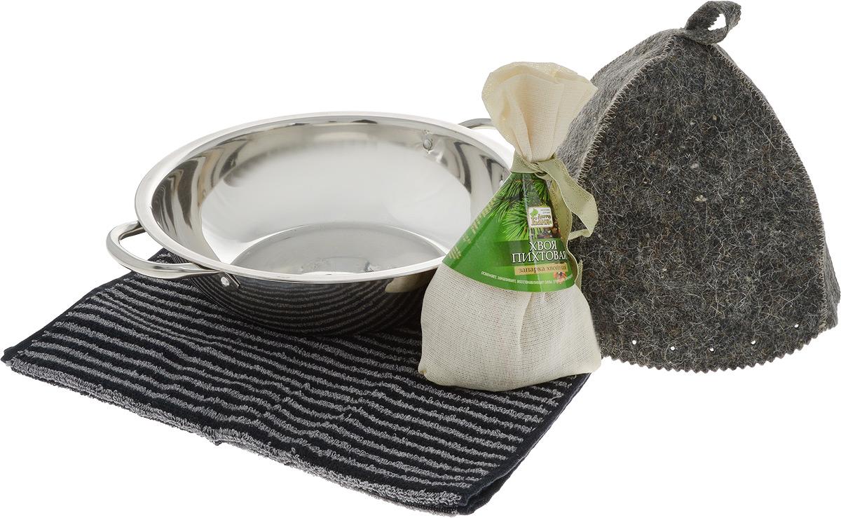 Набор для бани и сауны Доктор Баня Подарочный №6, 4 предметаK100Набор для бани и сауны Доктор Баня Подарочный №6 включает в себя: - тазик с ручками, выполненный из металла;- полотенце, выполненное и хлопка; - шапка, выполненная из войлока;- хвойная запарка Хвоя пихтовая. Использование запарки в бане и сауне обеспечивает свежесть, восстановление сил и улучшение самочувствия. Такой набор поможет с удовольствием и пользой провести время в бане, а также станет чудесным подарком друзьям и знакомым, которые по достоинству его оценят при первом же использовании.Размер полотенца: 35 х 76 см.Диаметр тазика: 28 см.Ширина тазика (с учетом ручек): 33,5 см. Высота шапки: 22 см.Диаметр основания шапки: 68 см.Вес запарки: 50 гр.