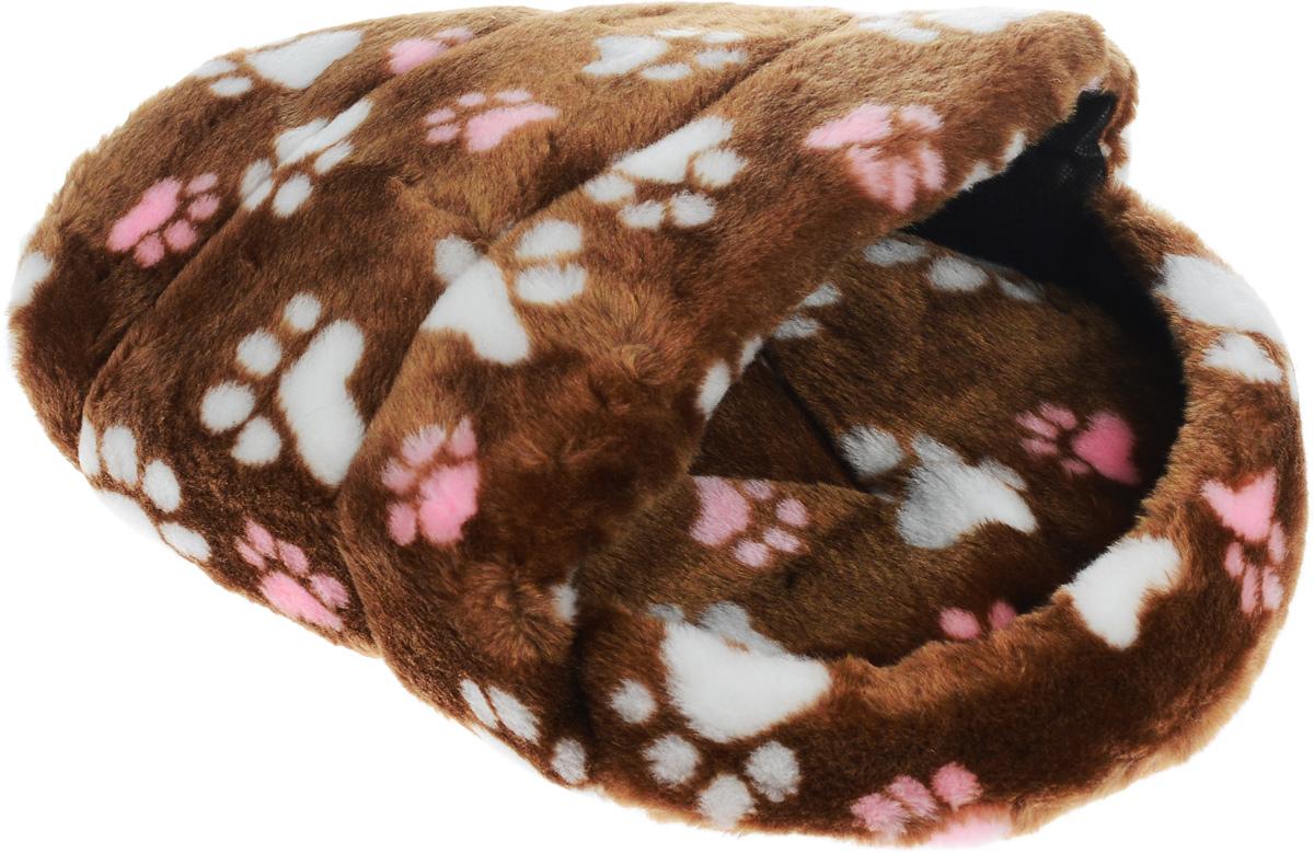 Лежак для животных Elite Valley Тапок, цвет: светло-коричневый, белый, розовый, 45 х 32 х 20 см0120710Лежак Elite Valley Тапок непременно станет любимым местом отдыха вашего домашнего животного. Изделие выполнено из искусственного меха, текстиля и нетканого материала, а наполнитель - из поролона. Такой материал не теряет своей формы долгое время. Внутри имеется мягкая съемная подстилка.На таком лежаке вашему любимцу будет мягко и тепло. Он подарит вашему питомцу ощущение уюта и уединенности, а также возможность спрятаться.