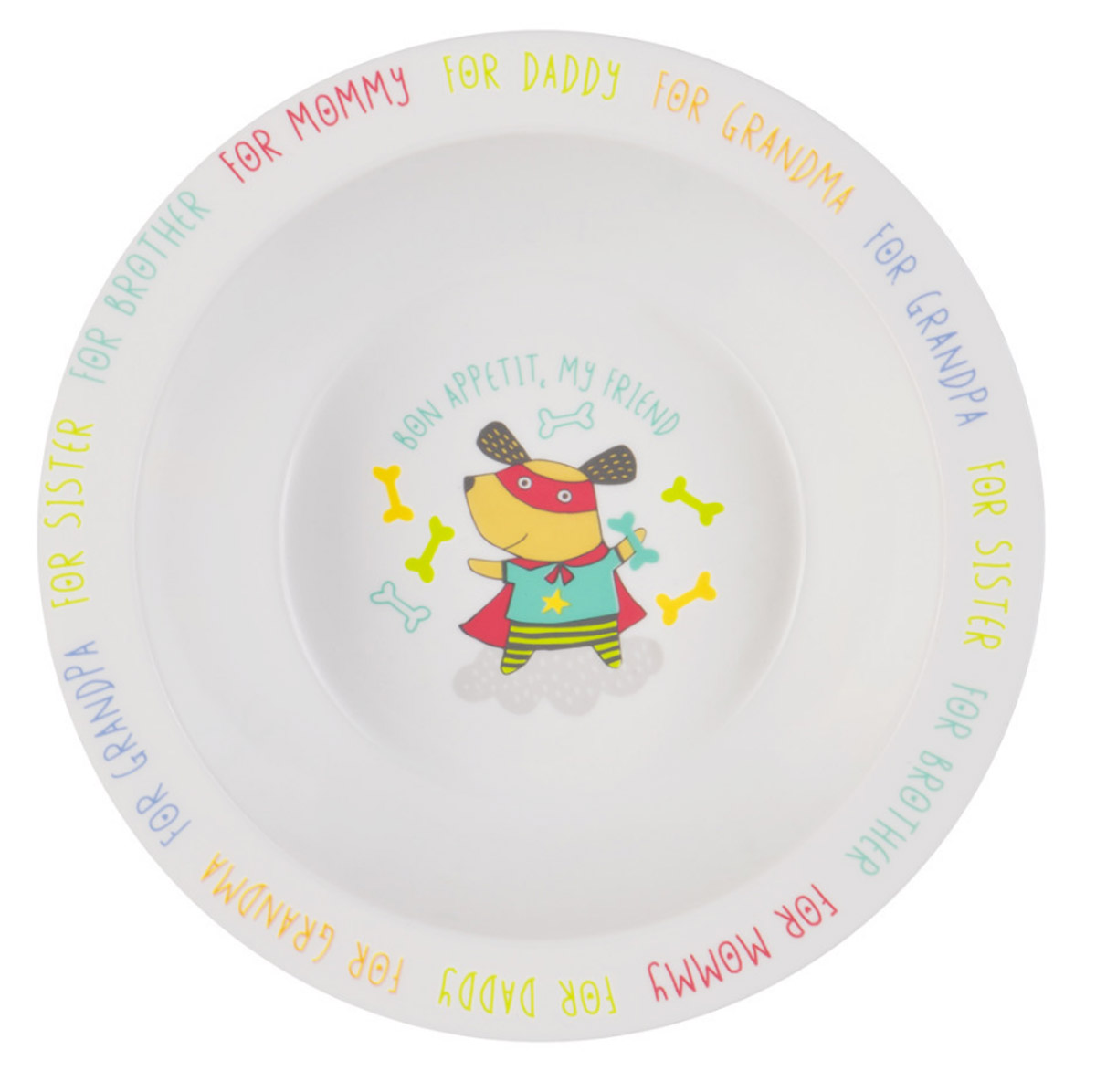Happy Baby Тарелка глубокая для кормления Собака с присоской цвет белый ментоловый115010Глубокая тарелка для кормления Happy Baby Собака с присоской поможет приучить малыша кушать из посуды для взрослых. Выполненная из полипропилена и термопластичного эластомера, тарелка не бьется при случайном падении, имеет малый вес, широкие края. Забавная нарисованная мышка на дне тарелки поможет заинтересовать малыша процессом кормления. Широкая присоска на дне прочно фиксирует тарелку на гладкой поверхности и не позволит ее перевернуть. Не содержит бисфенол-А. Можно разогревать в СВЧ-печи и мыть в посудомоечной машине без присоски.
