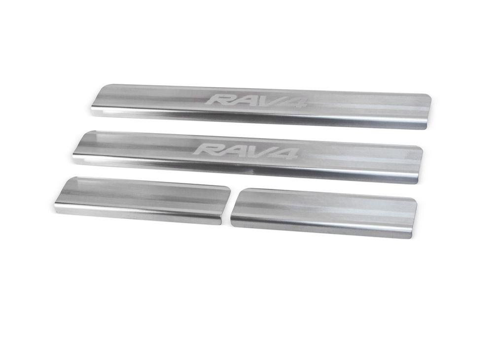 """Накладки на пороги Rival для Toyota RAV4 2013-, 4 шт1004900000360Накладки на пороги RIVALНакладки на пороги создают индивидуальный интерьер автомобиля и защищают лакокрасочное покрытие от механических повреждений- Использование высококачественной итальянской нержавеющей стали AISI 304.- Надежная фиксация на автомобиле с помощью """"фирменного"""" скотча 3М.- Устойчивое к истиранию изображение на накладках нанесено методом абразивной полировки.- Идеально повторяют геометрию порогов автомобиля.Уважаемые клиенты! Обращаем ваше внимание,что накладки имеют форму и комплектацию, соответствующую модели данного автомобиля. Фото служит для визуального восприятия товара."""
