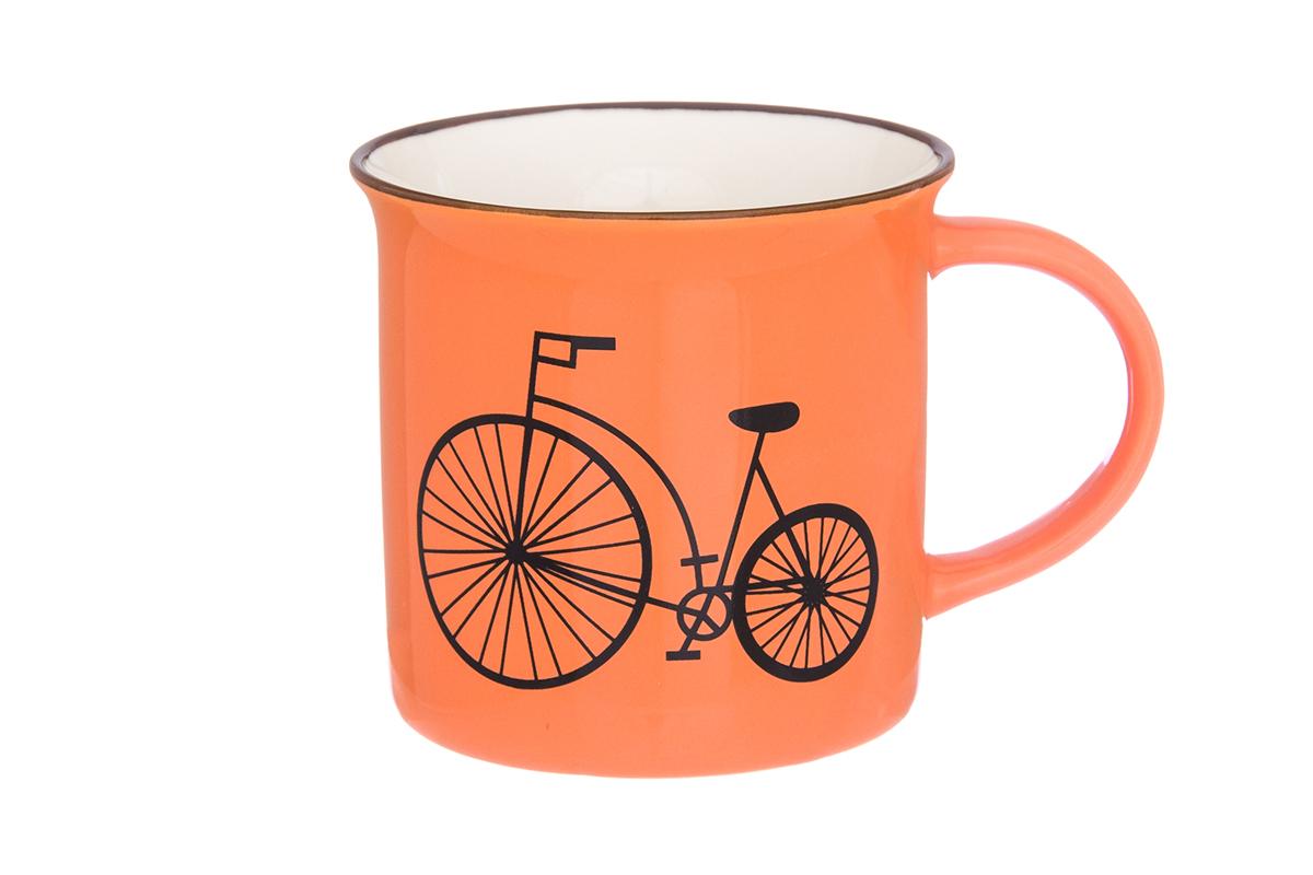 Кружка Elan Gallery Велосипед, цвет: оранжевый, 210 мл115510Фарфоровая кружка классической формы объемом 210 мл с удобной ручкой. Подходят для любых горячих и холодных напитков, чая, кофе, какао.