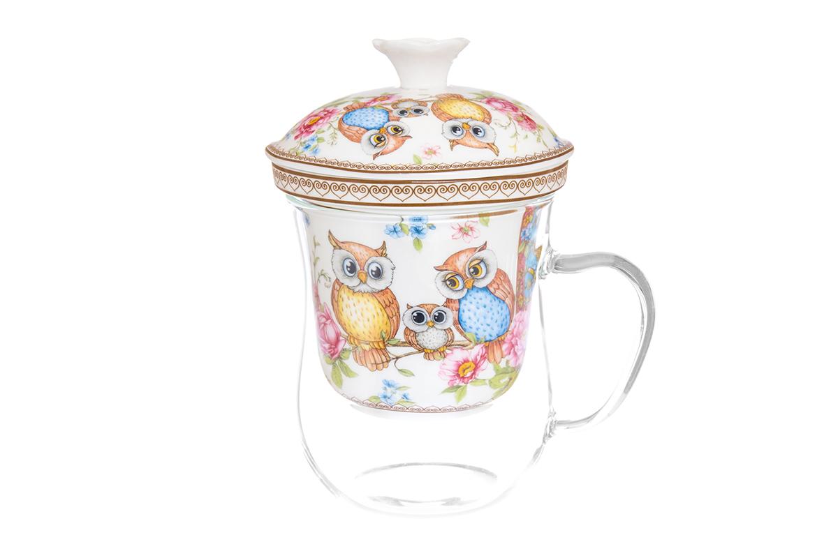 Кружка Elan Gallery New Bone China. Совушки, с ситом, 400 млFS-91909Кружка из стекла для заваривания чая. В комплекте кружка, крышка, фарфоровое сито. Изделие имеет подарочную упаковку, поэтому станет желанным подарком для Ваших близких! Не рекомендуется применять абразивные моющие средства.