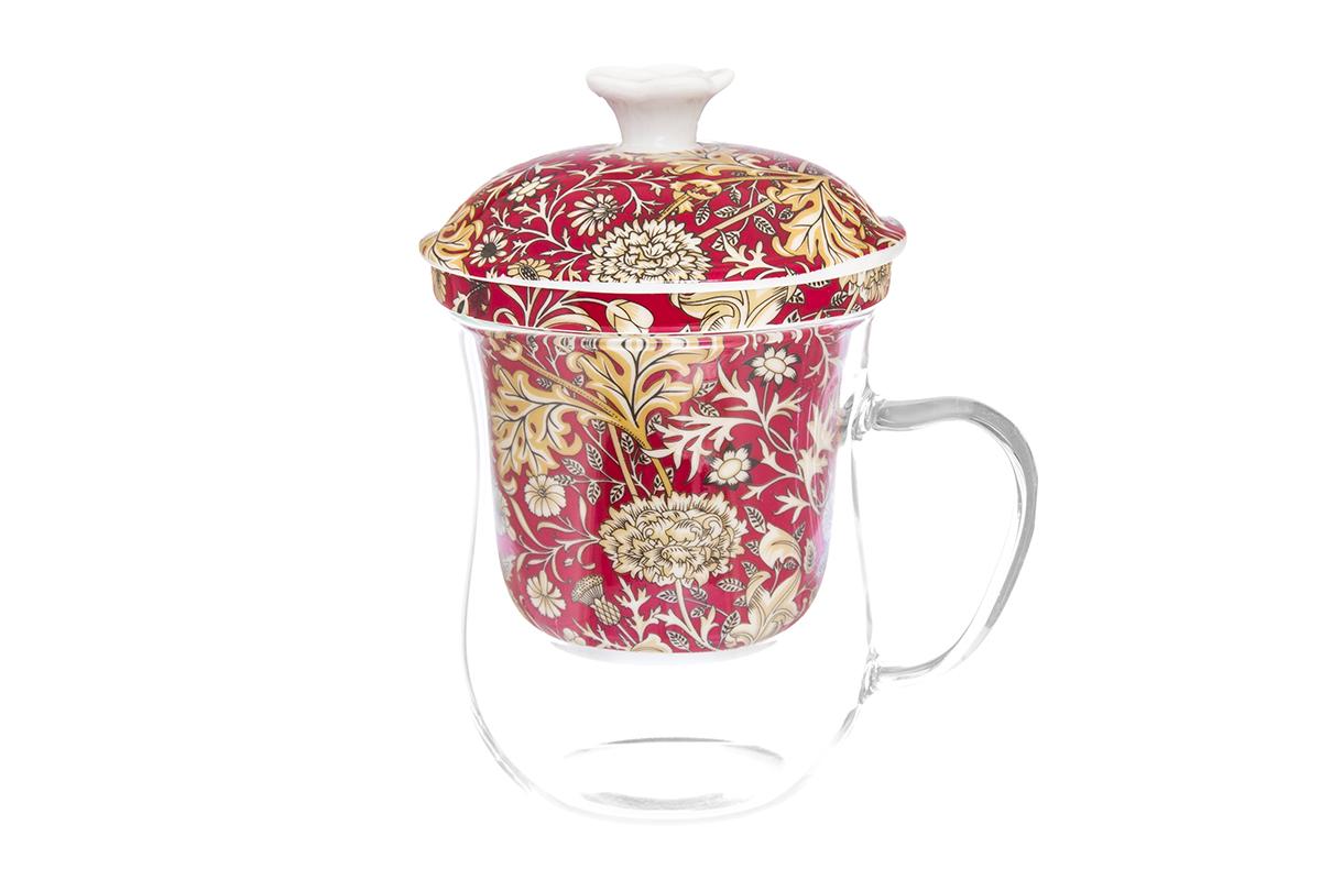 Кружка Elan Gallery New Bone China. Цветы, с ситом, 400 мл54 009312Кружка из стекла для заваривания чая. В комплекте кружка, крышка, фарфоровое сито. Изделие имеет подарочную упаковку, поэтому станет желанным подарком для Ваших близких! Не рекомендуется применять абразивные моющие средства.Объем кружки: 400 мл.