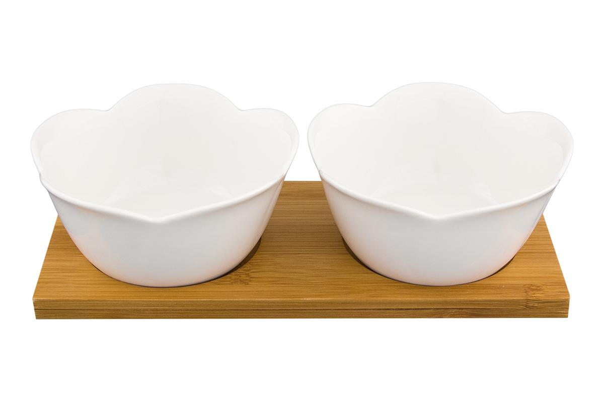 Набор блюд Elan Gallery Распустившийся тюльпан, на подставке, 2 предметаVT-1520(SR)Набор из двух блюд на деревянной подставке украсит современный интерьер и станет отличным подарком для любителей стильных вещей. Размер подставки: 20,5 х 10 х 5,5 см. Объем блюда: 180 мл.