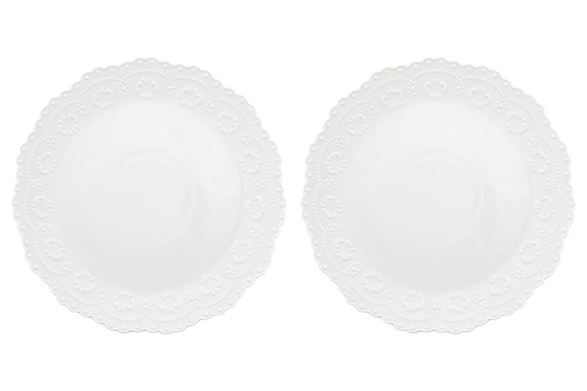 Набор тарелок Elan Gallery Узор, цвет: белый, диаметр: 28 см, 2 шт54 009312У Вас намечается небольшое торжество - используйте набор из 2 обеденных тарелок. Они не займут много места на столе. Тарелки из серии Узор станут украшением Вашего стола. Изделие имеет подарочную упаковку. Диаметр тарелки: 28 см.