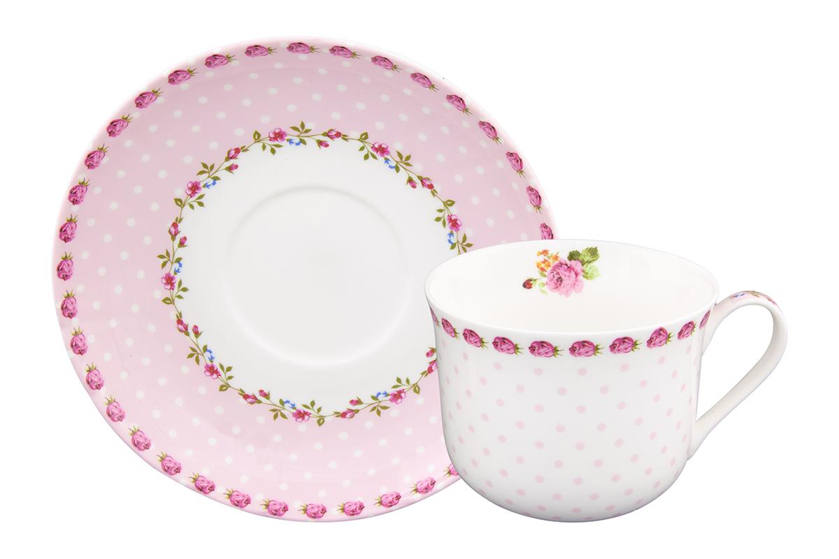 Чайная пара Elan Gallery Горошек с розами, цвет: розовый, 2 предмета54 009312Чайная пара на 1 персону в нежных тонах украсит ваше чаепитие. В комплекте 1 чашка на ножке объемом 440 мл, 1 блюдце. Изделие имеет прозрачную подарочную упаковку с бантиком, поэтому станет желанным подарком для ваших близких, коллег и друзей!