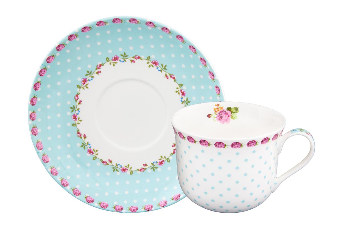 Чайная пара Elan Gallery Горошек с розами, цвет: бирюзовый, 2 предмета115510Чайная пара на 1 персону в нежных тонах украсит ваше чаепитие. В комплекте 1 чашка на ножке объемом 440 мл, 1 блюдце. Изделие имеет прозрачную подарочную упаковку с бантиком, поэтому станет желанным подарком для ваших близких, коллег и друзей!