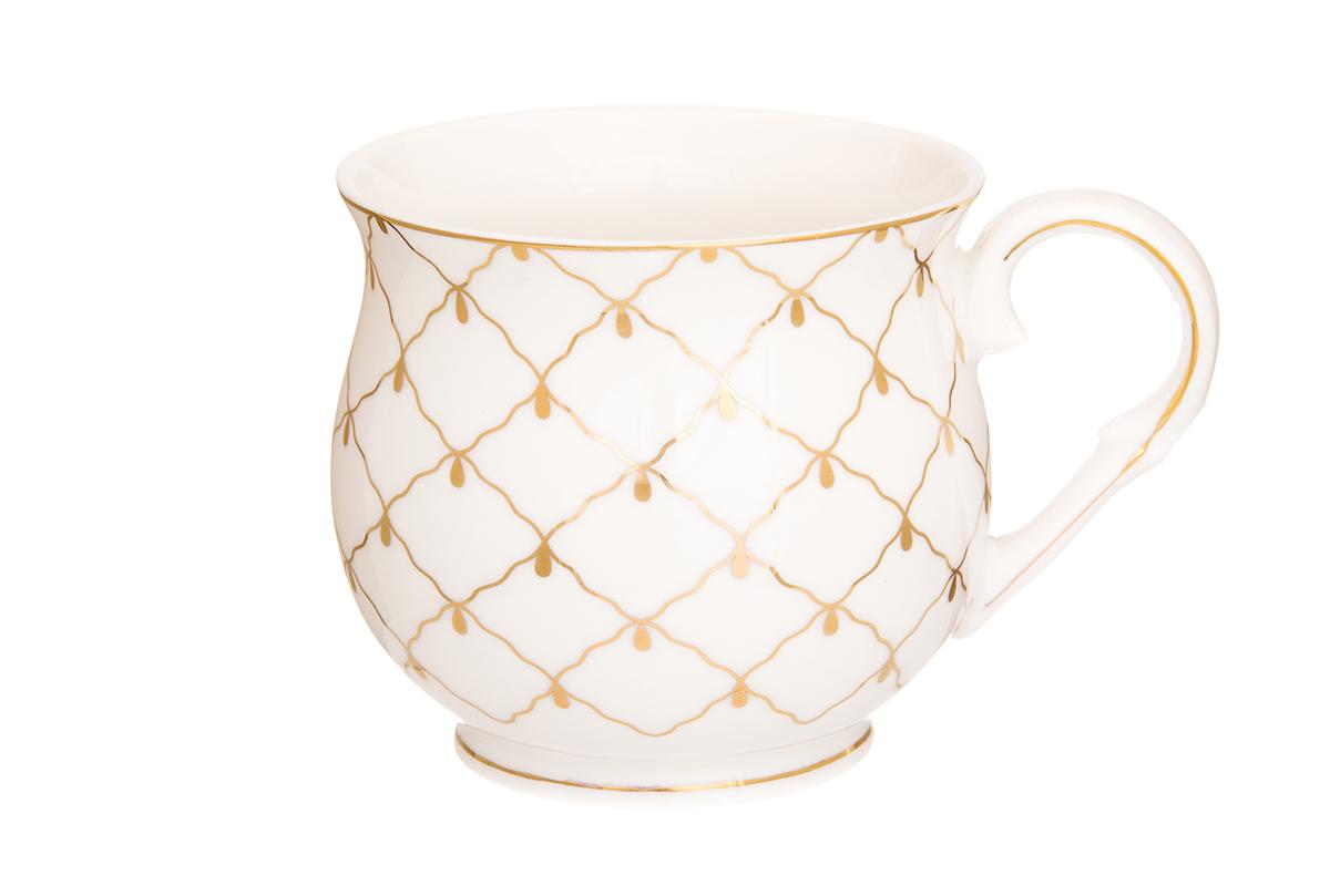 Кружка Elan Gallery Сетка, цвет: золотой, 480 мл730659Большая кружка выполненная из фарфора, станет оригинальным подарком! Идеальна для тех, кто предпочитает большие кружки и для любителей чая, кофе. Размер 13,5 х 10 х 9 см.Объем 480 мл.