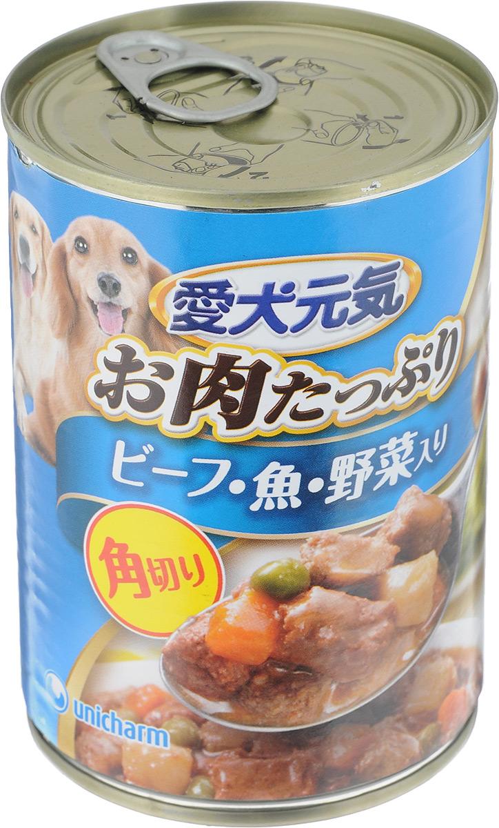 Консервы для собак Unicharm Aiken Genki , с говяжьим гуляшом, с рыбой и овощами, 400 г0120710Консервы для собак Unicharm Aiken Genki - это сбалансированное высококачественное питание для собак. Аппетитные сочные кусочки говядины и овощей в тающем соусе произведены с сохранением всех свойств натуральных продуктов, содержат комплекс питательных веществ и микроэлементов, необходимых для полноценного развития вашего четвероногого друга. Корм полностью удовлетворяет ежедневные энергетические потребности взрослого животного и обеспечивает оптимальное функционирование пищеварительной системы.Состав: курица, говядина, куриный экстракт, морковь, картофель, зеленый горошек, тунец, пшеничная мука, приправа, глюкоза, ксилоза, витамины и минералы (В1, В2, В6, D, E, кальций, хлор, калий, натрий, фосфор), стабилизатор (гуаровая камедь), консервант (нитрит натрия), красители (диоксид титана, оксид железа), антиоксиданты.Пищевая ценность (на 100 г): белки - 5%, липиды - 4%, клетчатка - 1,5%, зола - 4%, влажность - 85%, энергетическая ценность 90 ккал.Товар сертифицирован.