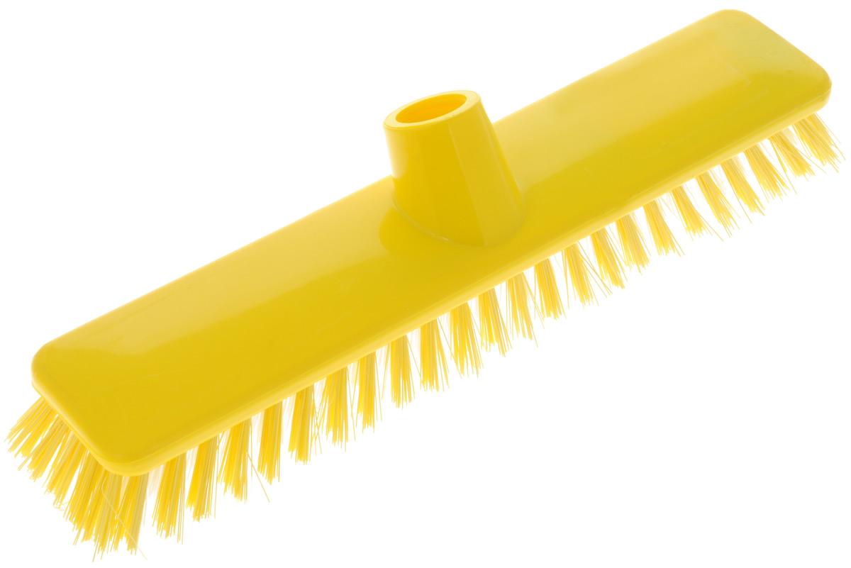Щетка для пола Хозяюшка Мила Ирис, цвет: желтый, белый, без ручки. 1904319043_желтый, белыйЩетка для пола Хозяюшка Мила Ирис изготовлена из пластика. Жесткая щетина из полипропилена, без расщепления на волокна, идеально подходит для уборки пола. Может использоваться как в домашних, так и промышленных целях. Щетка долговечна и устойчива к погодному воздействию. Универсальная резьба подходит ко всем видам ручек. Щетка станет незаменимым помощником по хозяйству. Размер щетки: 29 х 6 см.Длина ворса: 2,5 см.Диаметр резьбы: 2 см.