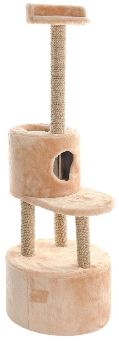 Домик-когтеточка Меридиан, круглый, с площадкой и полкой, цвет: светло-коричневый, бежевый, 55 х 50 х 147 смД551СКДомик-когтеточка Меридиан выполнен из высококачественных материалов.Изделие предназначено для кошек. Оно включает в себя 2 домика разных размеров и 2 полки. Изделие обтянуто искусственным мехом, а столбики изготовлены из джута. Ваш домашний питомец будет с удовольствием точить когти о специальные столбики. Места хватит для нескольких питомцев. Домик-когтеточка Меридиан принесет пользу не только вашему питомцу, но и вам, так как он сохранит мебель от когтей и шерсти.Общий размер: 55 х 50 х 147 см. Размер большого домика: 50 х 50 х 29 см.Размер малого домика: 33 х 33 х 29 см.Размер нижней полки: 55 х 34 см.Размер верхней полки: 27 х 27 см.