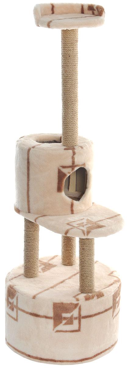 Домик-когтеточка Меридиан, круглый, с площадкой и полкой, цвет: бежевый, коричневый, 55 х 50 х 147 см0120710Домик-когтеточка Меридиан выполнен из высококачественных материалов.Изделие предназначено для кошек. Оно включает в себя 2 домика разных размеров и 2 полки. Изделие обтянуто искусственным мехом, а столбики изготовлены из джута. Ваш домашний питомец будет с удовольствием точить когти о специальные столбики. Места хватит для нескольких питомцев. Домик-когтеточка Меридиан принесет пользу не только вашему питомцу, но и вам, так как он сохранит мебель от когтей и шерсти.Общий размер: 55 х 50 х 147 см. Размер большого домика: 50 х 50 х 29 см.Размер малого домика: 33 х 33 х 29 см.Размер нижней полки: 55 х 34 см.Размер верхней полки: 27 х 27 см.