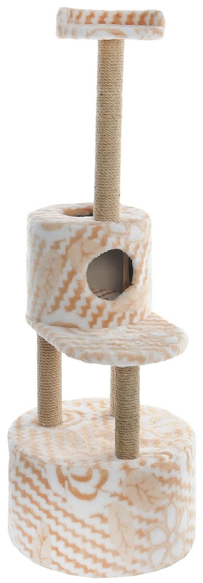 Домик-когтеточка Меридиан, круглый, с площадкой и полкой, цвет: белый, бежевый, 55 х 50 х 147 см0120710Домик-когтеточка Меридиан выполнен из высококачественных материалов.Изделие предназначено для кошек. Оно включает в себя 2 домика разных размеров и 2 полки. Изделие обтянуто искусственным мехом, а столбики изготовлены из джута. Ваш домашний питомец будет с удовольствием точить когти о специальные столбики. Места хватит для нескольких питомцев. Домик-когтеточка Меридиан принесет пользу не только вашему питомцу, но и вам, так как он сохранит мебель от когтей и шерсти.Общий размер: 55 х 50 х 147 см. Размер большого домика: 50 х 50 х 29 см.Размер малого домика: 33 х 33 х 29 см.Размер нижней полки: 55 х 34 см.Размер верхней полки: 27 х 27 см.