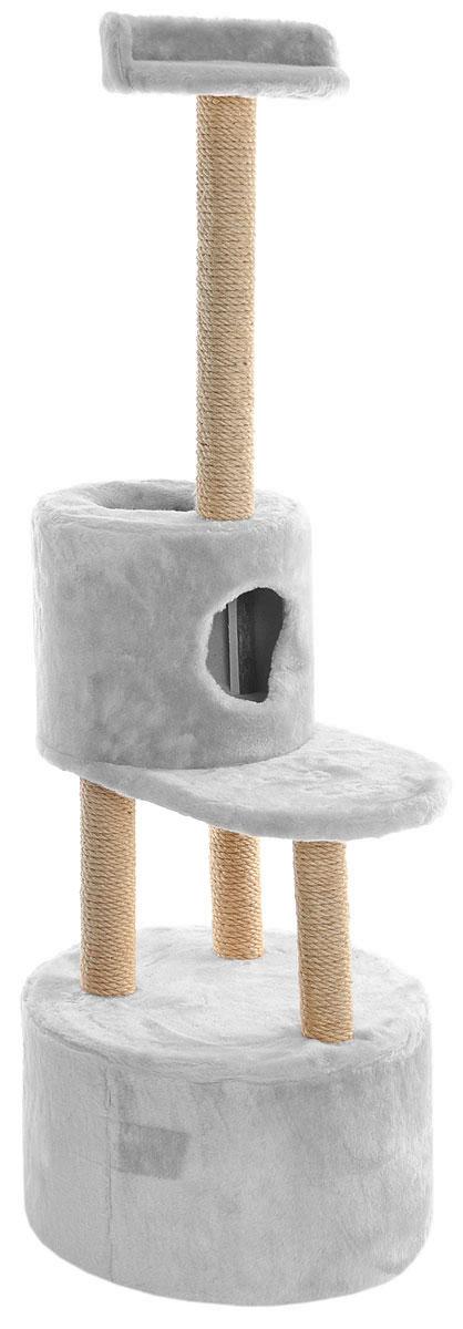 Домик-когтеточка Меридиан, круглый, с площадкой и полкой, цвет: светло-серый, бежевый, 55 х 50 х 147 смД151ДДомик-когтеточка Меридиан выполнен из высококачественных материалов.Изделие предназначено для кошек. Оно включает в себя 2 домика разных размеров и 2 полки. Изделие обтянуто искусственным мехом, а столбики изготовлены из джута. Ваш домашний питомец будет с удовольствием точить когти о специальные столбики. Места хватит для нескольких питомцев. Домик-когтеточка Меридиан принесет пользу не только вашему питомцу, но и вам, так как он сохранит мебель от когтей и шерсти.Общий размер: 55 х 50 х 147 см. Размер большого домика: 50 х 50 х 29 см.Размер малого домика: 33 х 33 х 29 см.Размер нижней полки: 55 х 34 см.Размер верхней полки: 27 х 27 см.