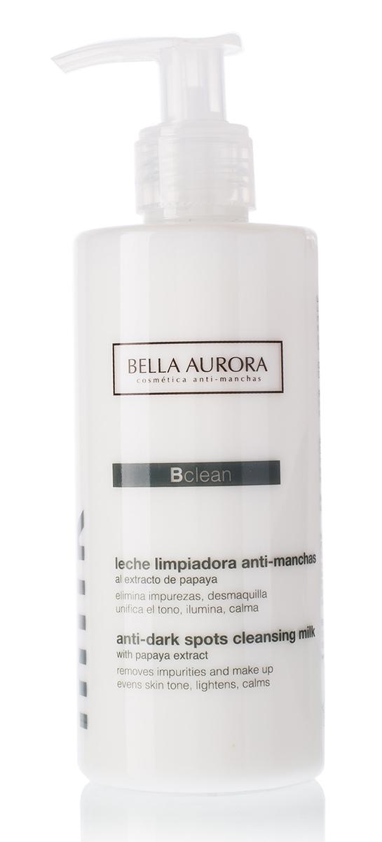 Bella Aurora Очищающее молочко для лица 250 млFS-00897Очищающее молочко тщательно удаляет с кожи загрязнения и вредные вещества, прекрасно смывает макияж. Содержит активные антипигментные ингредиенты, снижающие синтез меланина и выравнивающие тон кожи, оставляя лицо чистым и сияющим. /Формула содержит экстракт папаи?и и молочные белки для мягкого отшелушивания и миндальное масло, которое увлажняет, смягчает и успокаивает кожу. /Применение: Утром и вечером наносите на кожу легкими массирующими движениями, затем удаляйте при помощи ватного диска. После очищения кожи молочком используйте тоник.