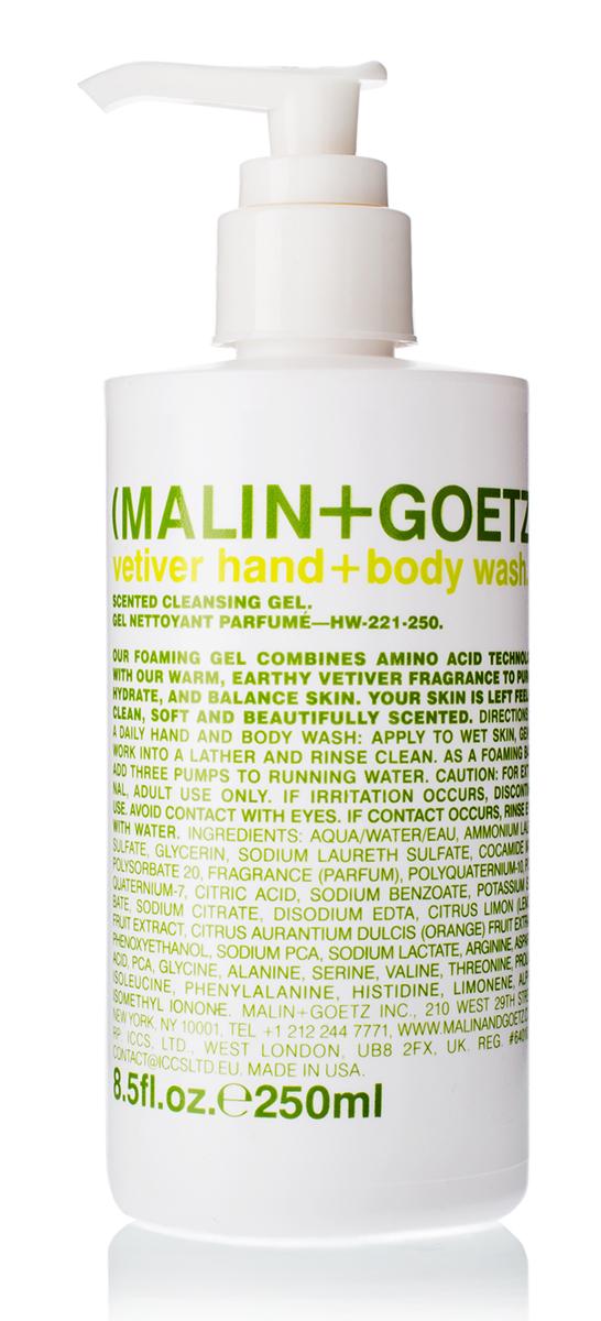 Malin+Goetz Гель-мыло для душа и рук Ветивер 250 мл8004Пенящийся гель для рук с ароматом туалетной воды Ветивер мягко и эффективно очищает и увлажняет кожу. Гель сочетает свежесть аромата и очищающие ингредиенты на основе аминокислот, обладает поддерживающим баланс действием, подходит для любого типа кожи. Полностью смывается водой, не вызывает раздражения, сухости или повреждений. Снижает эпидермальный стресс, вызываемый мытьем рук.