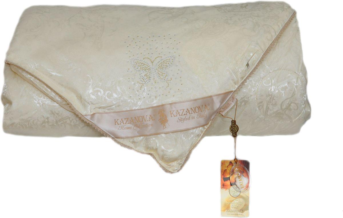 Одеяло KAZANOV.A. Luxury Мulberry Silk, цвет: белый, 155 х 210 смК44-825-1.6Жаккардовое одеяло KAZANOV.A. Luxury Мulberry Silk имеет двухсторонний чехол, изготовленный из высококачественной жаккардовой ткани, и натуральный наполнитель из шелкового волокна. Элементами отделки является: сатиновый кант по всему периметру одеяла, аппликация из страз в виде бабочки и надписи Silk, а также петли для фиксации в пододеяльнике. Дышащая текстура создает все условия для комфортного и по-настоящему приятного сна. Одеяло KAZANOV.A. поможет вам создать атмосферу необычайного комфорта и уюта в вашей спальне.